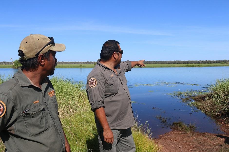 Rangers Fred Hunter and Calvin Murakami survey the Magela floodplain.