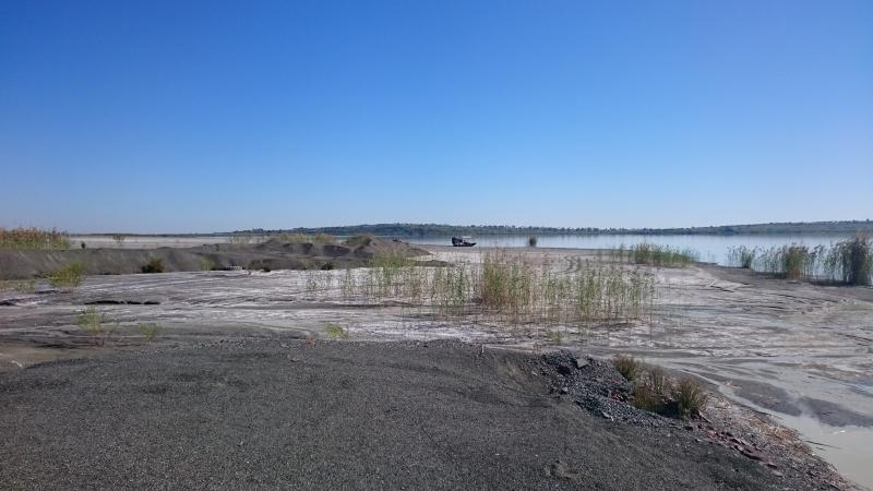 The lunar landscape around the dam